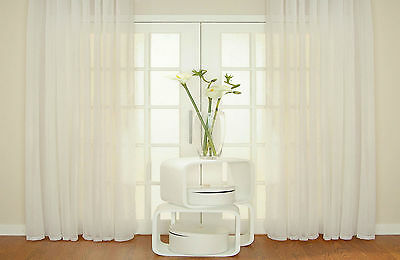 PRIVACY Voile Curtain Panel OPAQUE Semi Sheer Net All Sizes WIDE LONG Patio Bay