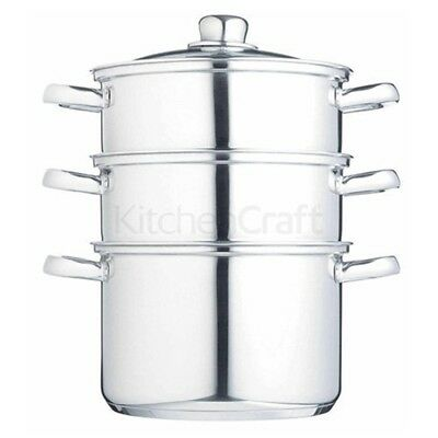 Kitchencraft Induction-safe Stainless Steel 3-tier Food Steamer Pan / Stock -