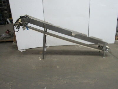 "Hydraulic 117"" x 12"" Incline Cleated Stainless Steel Small Parts Conveyor"
