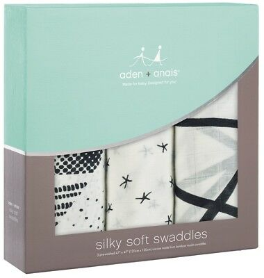 """Aden & Anais Silky Soft Muslin 47"""" x 47"""" Baby Swaddles midnight 3 Pack NEW"""