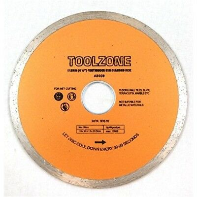 "Toolzone 115mm (4-1/2"") Disc Continuous Rim Diamond Cut - 412 Cutting Wet Blade"
