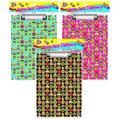 A4 Funny Face Emoji Clipboards Clip Boards Pink Black Or Blue Office Documents