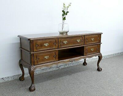 TV Schrank Buffet Sideboard Massiv Mahagoni Chippendale Style Lightbrown  Walnuss