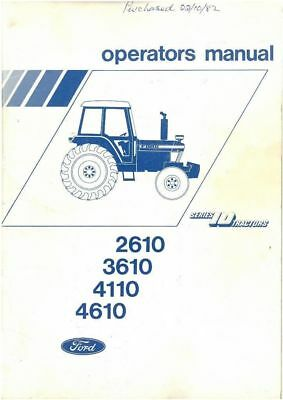 Ford Tractor 2610 3610 4110 4610 Operators Manual