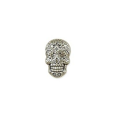 Tandy Leather Sugar Skull Concho Antique Silver Plate/nickel Free 71512-01 -
