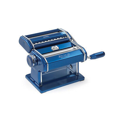 Marcato Atlas 150 Pasta Machine w/Pasta Cutter, Hand Crank, Made in Italy, Blue