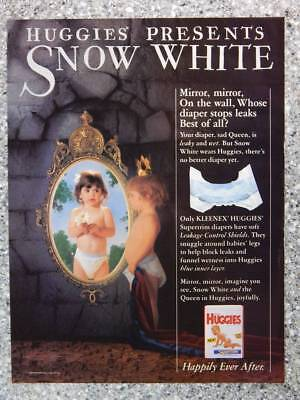1989 Huggies Baby Diapers - Vintage Magazine Ad Page - Snow White