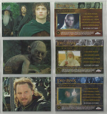 "2004 The Lord of the Rings Trilogy ""Complete Set"" of 3 Promo Cards (P1-P2-P3)"
