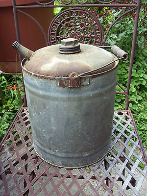 Antique Galvanized 1 Gal Eagle Gas Oil Can W/bail & Wood Handle Small Spout Rare