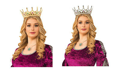 Adult size Plastic Royal Queen Crown - Gold or Silver - Costume Accessory fnt