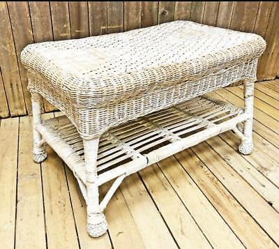 Vintage WICKER COFFEE TABLE white patio side shabby cottage chic french garden