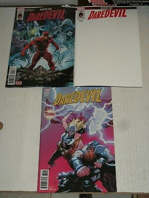 Marvel DAREDEVIL #600 Regular Cover, Blank Cover, and Yu Thor Variant Set NM/M
