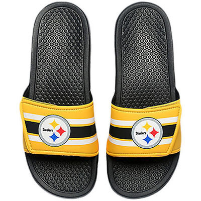 1e1c71ec453b NFL Pittsburgh Steelers Men s Stripe Legacy adjustable Shower Flip Flops NEW
