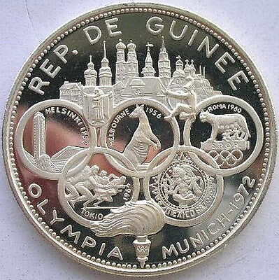 Guinea 1969 Munich Olympics 500 Francs Silver Coin,Proof