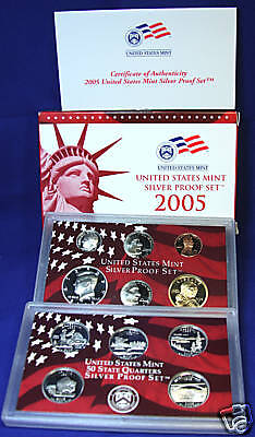 2005-s U.S. SILVER Proof Set.  U.S. Mint Made in Red Mint Box with COA