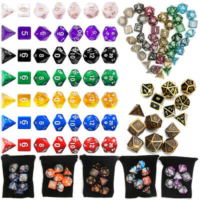 Polyhedral Dice Set for Dungeons Dragons D20 D12 D10 D8 D6 D4 Games With Bag