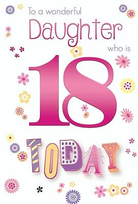Daughter 18th 18 Number Flower Word Design Happy Birthday Card Lovely Verse