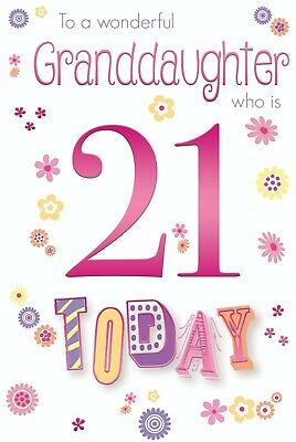 Granddaughter 21st 21 Number Word Design Happy Birthday Card Lovely Verse