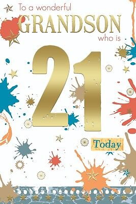 Grandson 21st 21 Number Word Design Happy Birthday Card Lovely Verse