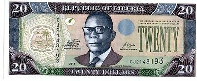 Liberia 2011 20 Dollars Currency Unc