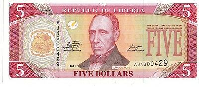 Liberia 2011  5 Dollars Currency Unc