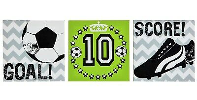 FOOTBALL Score SOCCER Goal Set of 3 Kids Boys Bedroom Canvas Wall Art Pictures