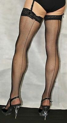 Large Black Seamed Lace Top Fine Fishnet Stockings Suspender Friendly Top
