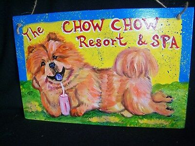 """HP Chow Chow """"Resort & Spa"""" SIGN dog art painting hand painted comical cartoon"""