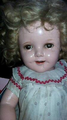 "1934 IDEAL SHIRLEY TEMPLE Doll 1930'S 16"" TEETH & TONGUE Composition Antique"