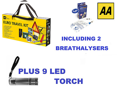 AA Car Euro Travel Kit - Including 2 Pack Breathalyser & 9 LED Torch