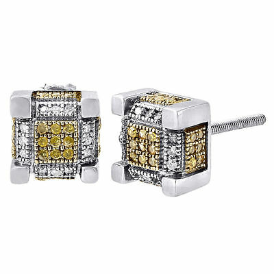 10K White Gold Round Yellow Pave Diamond 3D Cube Men's Stud Earrings 0.28 Ct.