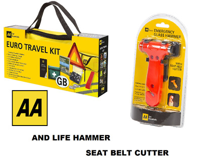 AA Car Euro Travel Kit For Driving Abroad & Life Glass Hammer / Seat Belt Cutter