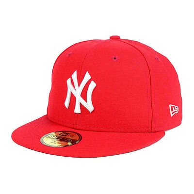 New York Yankees Officially Licenced Red 59FIFTY MLB New Era Fitted Cap - 7 1/4