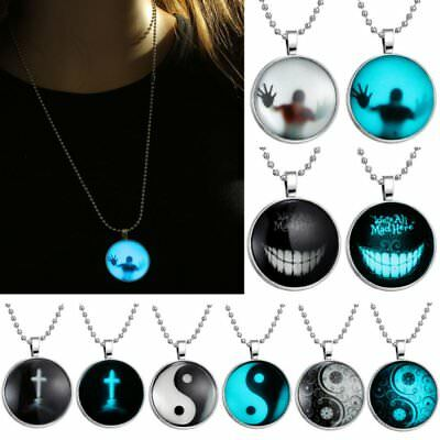 Yin Yang Smile Cross Person Luminous Glow In The Dark Pendant Necklace Jewelry