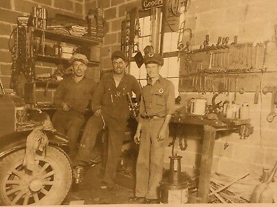 1920s Interior Texaco Gas Station Garage Mechanics Photograph Borden Indiana