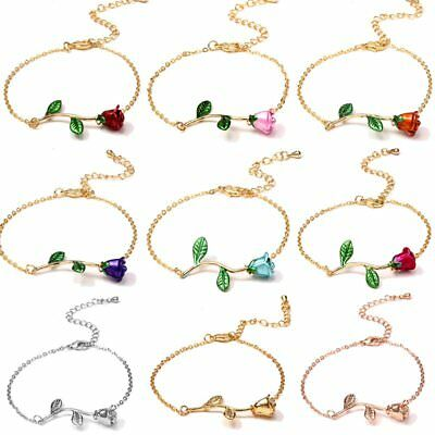 2019 Women Fashion 18K Gold Plated Rose Flower Bracelet Chain Jewelry Party Gift