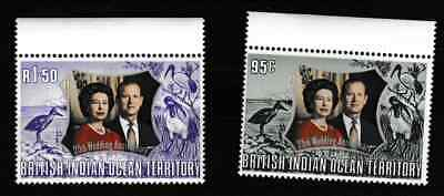 British Indian Ocean Terr. - QE2 - 25th wedding anniversary 1972 - 2 mint stamps