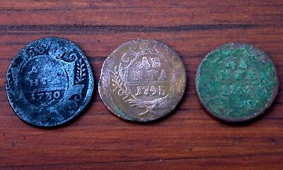 2 Very Old Russian Bronze Coins Dated 1700's Plus Extra Coin LOT #18