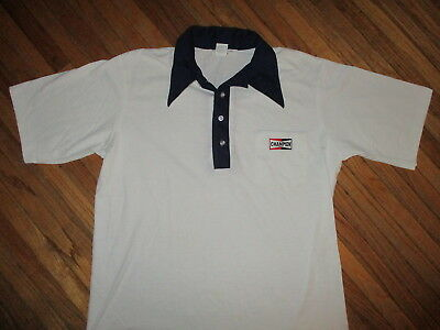 vtg 70s 80s CHAMPION SPARK PLUGS POLO SHIRT White Blue Embroidered Logo