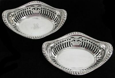 """Vintage Pair Of Gorham Sterling Silver Reticulated Large 7"""" Master Nut Dishes"""
