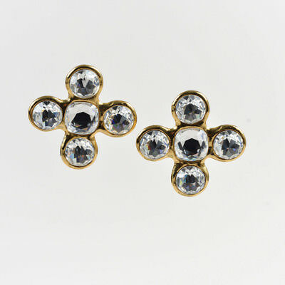 47bdeadaee1 Yves Saint Laurent Gold Tone Metal & Crystal Statement Clip On Earrings
