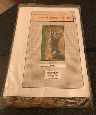 Vintage Wildlife Tiger Counted Cross Stitch Kit With Anchor Silks