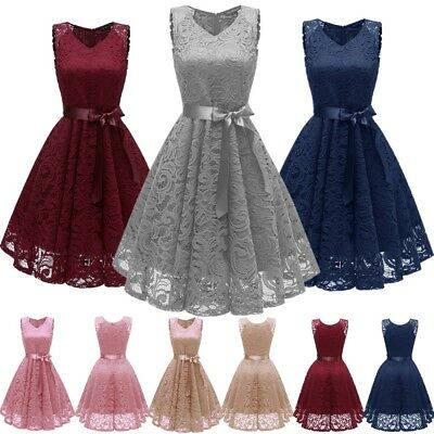 Womens Sleeveless Vintage Lace Rockabilly Swing Skater Party Evening Retro Dress