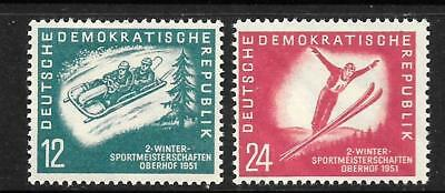 GERMANY DDR  1951   2nd  WINTER SPORTS  SET 2  MH  SG E37/38