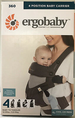 Ergobaby 360 4 Position Infant Child Baby Carrier Cool Air Carbon Grey AUTHENTIC
