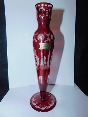 Vintage Egermann Czech Republic Bohemian Vase 8 11/16 T. Ruby Flash Has Label