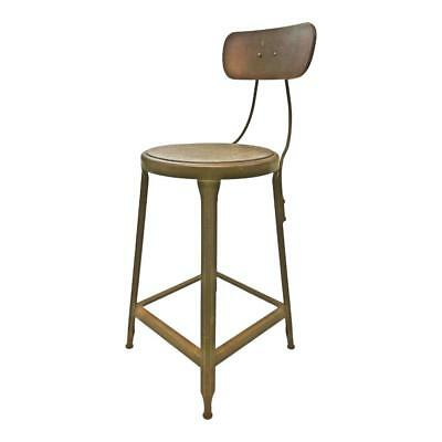 Vintage INDUSTRIAL STOOL steel metal chair seat steampunk factory drafting green