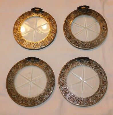 Beautiful set of 4 Sterling Silver and Crystal Coaster Set # 8043