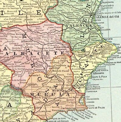 1892 Antique SPAIN & PORTUGAL Map Vintage Collectible Atlas Map of Spain 5030