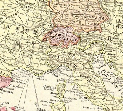 1901 Antique EUROPE Map Vintage Collectible Crams Atlas Map of Europe 5033